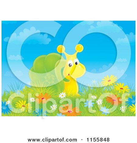 Cartoon of a Snail in a Field of Wildflowers - Royalty Free Illustration by Alex Bannykh