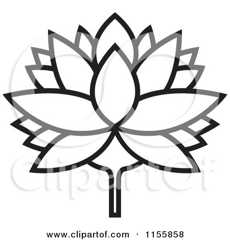 Clipart of a Black and White Outlined Lutus Water Lily ...