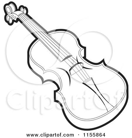 White Violin Drawing And White Violin Royalty