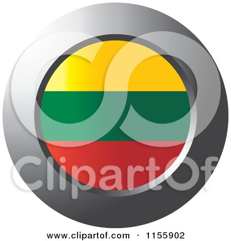 Clipart of a Chrome Ring and Lithuania Flag Icon - Royalty Free Vector Illustration by Lal Perera