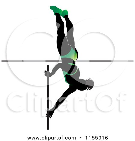 Clipart of a Silhouetted Woman Pole Vaulting in a Green Suit - Royalty Free Vector Illustration by Lal Perera