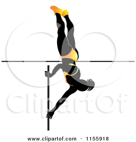 Clipart of a Silhouetted Woman Pole Vaulting in a Yellow Suit - Royalty Free Vector Illustration by Lal Perera