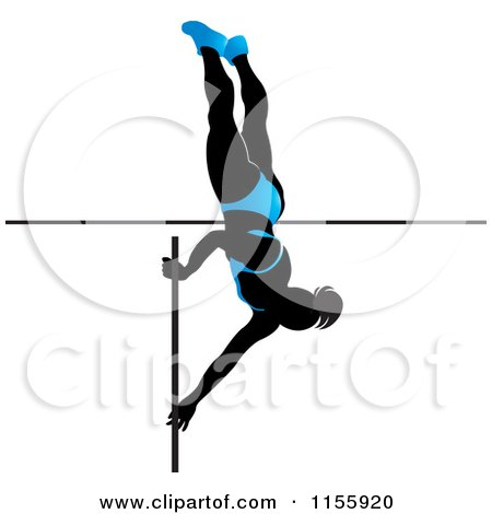 Clipart of a Silhouetted Woman Pole Vaulting in a Blue Suit 2 - Royalty Free Vector Illustration by Lal Perera