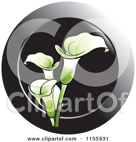 Clipart of a Green Calla Lily Flower Icon - Royalty Free Vector Illustration by Lal Perera