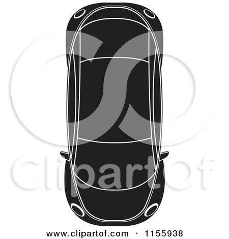 Clipart of an Aerial View of a Black and White Car - Royalty Free Vector Illustration by Lal Perera