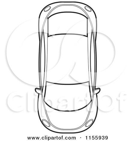 Clipart of an Aerial View of an Outlined Car - Royalty Free Vector Illustration by Lal Perera