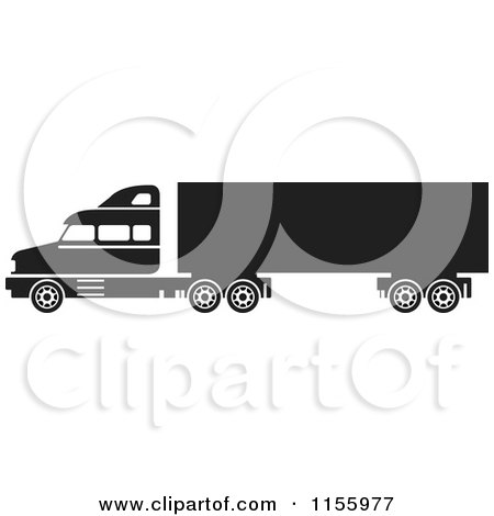Clipart of a Black and White Big Rig Truck - Royalty Free Vector Illustration by Lal Perera