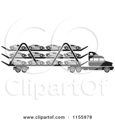 Clipart of a Black and White Big Rig Truck Transporting Cars - Royalty Free Vector Illustration by Lal Perera