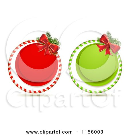 Clipart of Red and Green Round Christmas Icons with Bows - Royalty Free Vector Illustration by merlinul