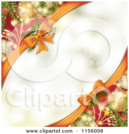 Clipart of a Christmas Background Baubles and Bows with Copyspace - Royalty Free Vector Illustration by merlinul