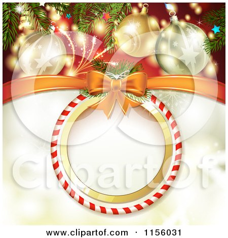 Clipart of a Christmas Background of Fireworks Baubles and a Round Candy Cane Frame - Royalty Free Vector Illustration by merlinul