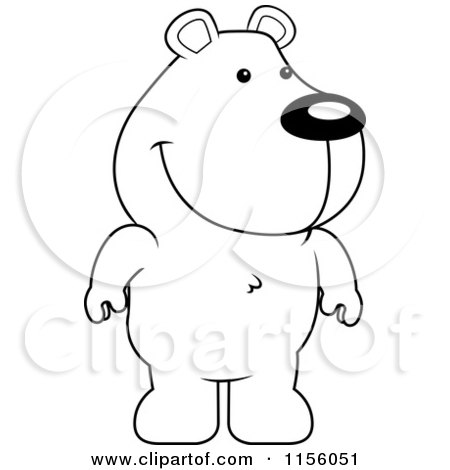 Cartoon Clipart Of A Black And White Cute Standing Bear