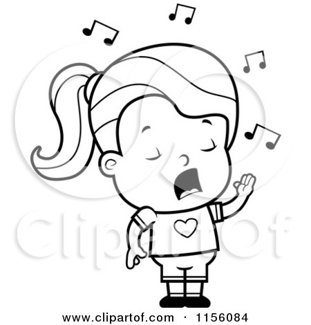 Cartoon Clipart Of A Black And White Little Girl Singing - Vector Outlined Coloring Page by Cory Thoman