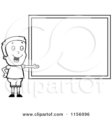 Cartoon Clipart Of A Black And White Boy Presenting a Chalk Board - Vector Outlined Coloring Page by Cory Thoman