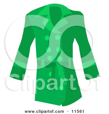 Woman's Long Green Coat Clipart Picture by AtStockIllustration