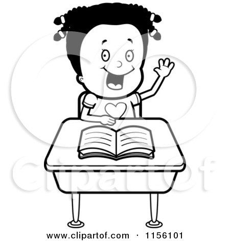 Cartoon Clipart Of A Black And White Black Girl Raising Her Hand at Her Desk - Vector Outlined Coloring Page by Cory Thoman