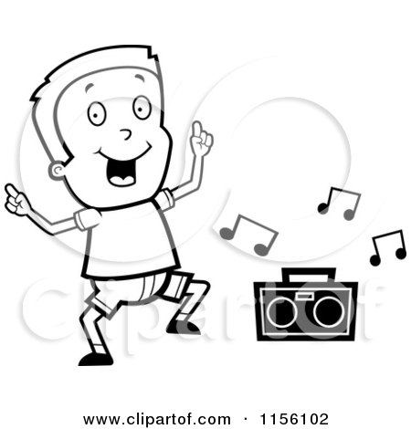 Cartoon Clipart Of A Black And White Boy Dancing To Music