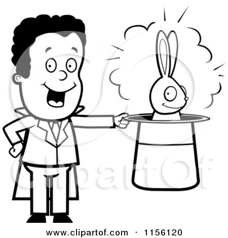 Cartoon Clipart Of A Black And White Grinning Rabbit In A