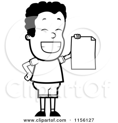 Cartoon Clipart Of A Black And White Proud Black Teen Boy Holding a Report Card - Vector Outlined Coloring Page by Cory Thoman