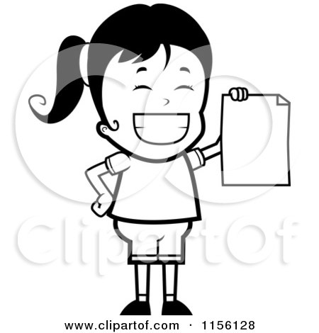 Cartoon Clipart Of A Black And White Grinning Girl Holding up a Blank Report Card - Vector Outlined Coloring Page by Cory Thoman