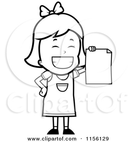 Cartoon Clipart Of A Black And White Grinning Little Girl Holding up a Blank Report Card - Vector Outlined Coloring Page by Cory Thoman