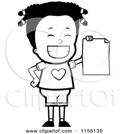 Cartoon Clipart Of A Black And White Black Girl Holding up Her Report Card - Vector Outlined Coloring Page by Cory Thoman