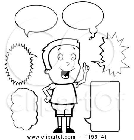 Cartoon Clipart A Black And White Caucasian Boy with