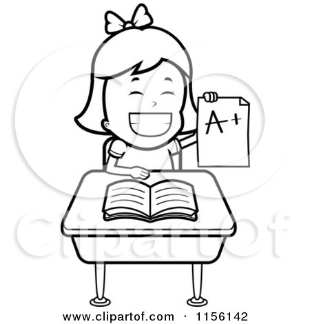Cartoon Clipart Of A Black And White School Girl Holding up an a Plus Report Card and Sitting at Her Desk - Vector Outlined Coloring Page by Cory Thoman