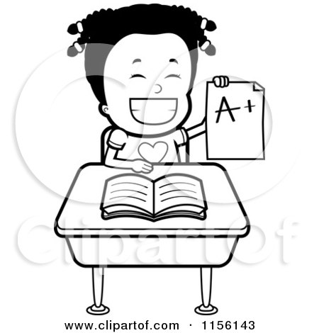 Cartoon Clipart Of A Black And White Happy Black Girl Holding an a Plus Report Card at Her Desk - Vector Outlined Coloring Page by Cory Thoman
