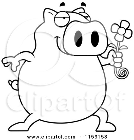 Cartoon Clipart Of A Black And White Pig Holding a Daisy Flower - Vector Outlined Coloring Page by Cory Thoman