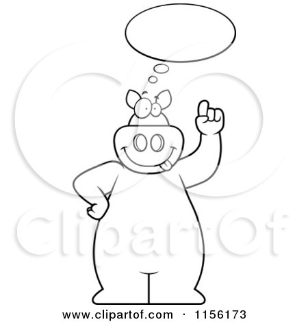Cartoon Clipart Of A Black And White Big Pig with an Idea ...
