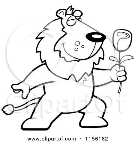 Cartoon Clipart Of A Black And White Romantic Lion Presenting a Red Rose - Vector Outlined Coloring Page by Cory Thoman