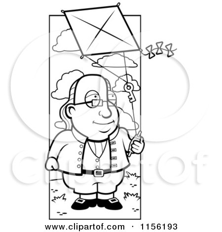 Cartoon Clipart Of A Black And White Benjamin Franklin Doing a Kite Experiment - Vector Outlined Coloring Page by Cory Thoman