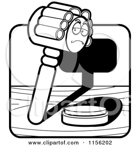 Cartoon Clipart Of A Black And White Gavel Character Wearing a Wig - Vector Outlined Coloring Page by Cory Thoman