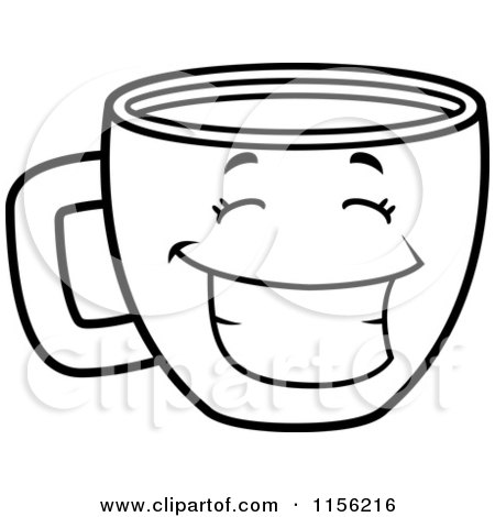 Cartoon Clipart Of A Black And White Happy Grinning Coffee Cup - Vector Outlined Coloring Page by Cory Thoman