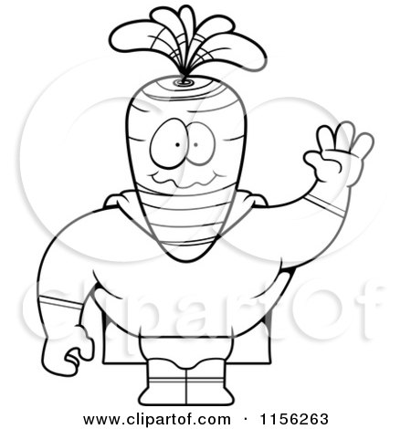 Cartoon Clipart Of A Black And White Waving Carrot Super Hero - Vector Outlined Coloring Page by Cory Thoman