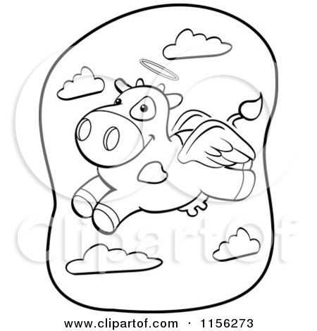 Cartoon Clipart Of A Black And White Flying Angel Cow - Vector Outlined Coloring Page by Cory Thoman