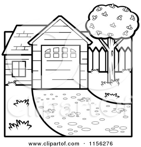 Cartoon clipart of a black and white house vector for The white house coloring page