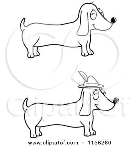 cartoon clipart of a black and white digital collage of wiener dogs rh clipartof com Bird Clip Art Black and White Dig Clip Art Black and White