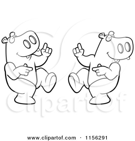 Cartoon Clipart Of A Black And White Dancing Hippo Couple
