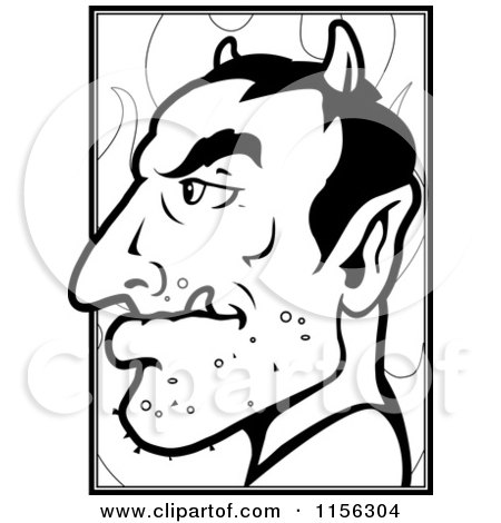 Cartoon Clipart Of A Black And White Devil's Profile - Vector Outlined Coloring Page by Cory Thoman