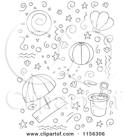 Cartoon Clipart Of A Black And White Collage of Beach Doodles - Vector Outlined Coloring Page by Cory Thoman
