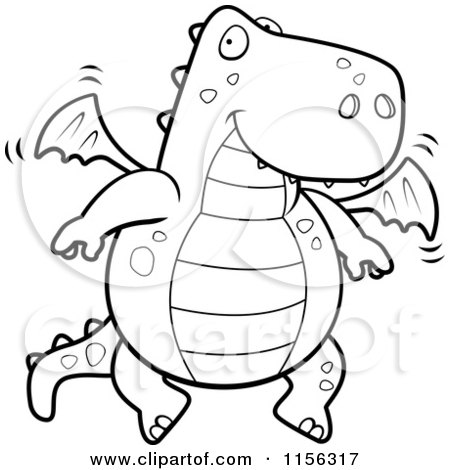 Cartoon Clipart Of A Black And White Friendly Flying Dragon - Vector Outlined Coloring Page by Cory Thoman