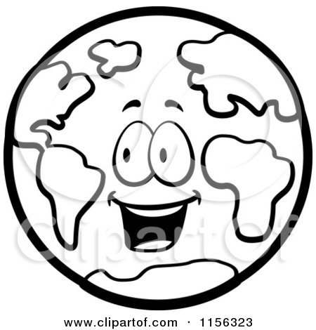 Cartoon Clipart Of A Black And White Happy Earth