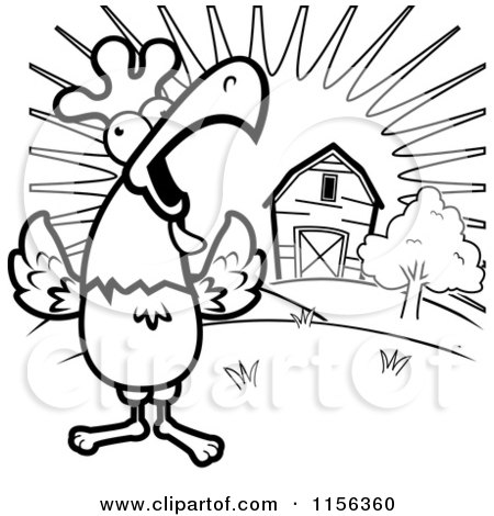 Cartoon Clipart Of A Black And White Happy Rooster Crowing Loudly By Farm At Sunrise