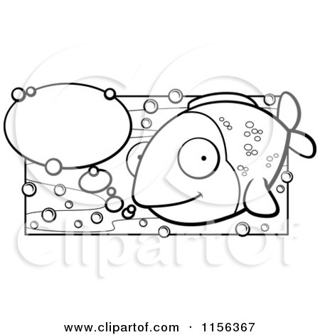 Cartoon Clipart Of A Black And White Happy Fish With Talk Bubbles