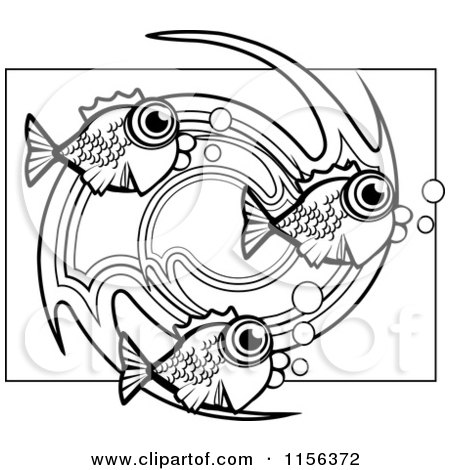 White Circle Fish Vector Outlined Coloring Page Cory Thoman