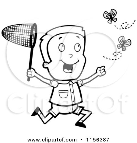 Cartoon Clipart Of A Black And White Energetic Boy Chasing Butterflies with a Net - Vector Outlined Coloring Page by Cory Thoman