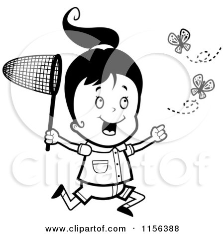 Cartoon Clipart Of A Black And White Happy Girl Running and Chasing Butterflies with a Net - Vector Outlined Coloring Page by Cory Thoman