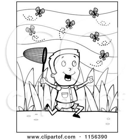 Cartoon Clipart Of A Black And White Happy Boy Chasing Butterflies with a Net - Vector Outlined Coloring Page by Cory Thoman